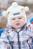 Portrait of crying baby outdoors Royalty Free Stock Photos