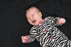 Portrait of crying baby. Portrait of sad crying baby with black background royalty free stock image