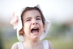 Portrait of crying little girl. Crying Baby Girl Outdoor she is very sad royalty free stock image