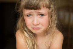 Portrait of crying little girl royalty free stock images
