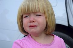 Portrait of a crying little girl. royalty free stock image