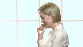 Portrait of crying middle-aged office woman. Side view upset female office worker is crying. Trouble at work stock footage