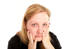 Portrait of a crying woman Stock Photos