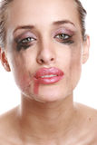 Portrait of a crying woman with flowing mascara Royalty Free Stock Photos