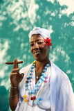 Portrait of cuban black woman smoking cigar Stock Photos