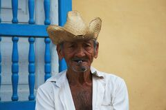 Portrait of Cuban man with cigar Stock Images