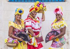 Portrait of a Cuban woman. HAVANA, CUBA - JULY 18 : Cuban women with traditional clothing in old Havana street on July 18 2016. The historic center of Havana is stock photos