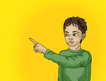 Portrait of a Cunning little boy.Boy surprised. Child points. Portrait of a Cunning  little boy.Boy surprised. Child points his finger. Drawn on yellow Stock Photo