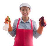 Portrait of curious female Asian maid attractive woman doing hou. Se work. isolated over white background Royalty Free Stock Images
