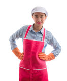 Portrait of curious female Asian maid Smiling, thinking. Royalty Free Stock Photos