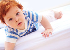 Portrait of curious toddler baby with big eyes Royalty Free Stock Photography