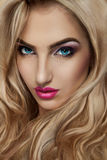 Portrait of curly blonde woman Royalty Free Stock Images