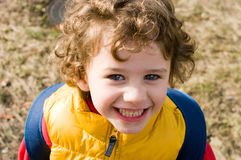 Portrait of a curly haired boy Royalty Free Stock Images