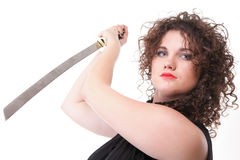 Portrait curly woman curly girl and sword Stock Image