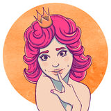 Portrait of curly young beautiful girl. Princess with a crown on his head. Queen with pink hair. Flirty vector illustration