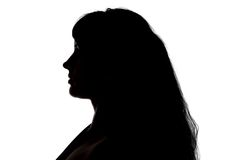Portrait of curvy woman's silhouette in profile. On white background Stock Image