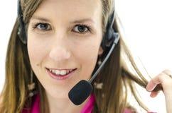Portrait of customer service representative. Portrait of young attractive customer service representative Royalty Free Stock Photo