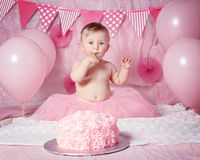Portrait of cute adorable Caucasian baby girl with blue eyes in pink tutu skirt celebrating her first birthday. With gourmet cake and balloons looking in camera Royalty Free Stock Images