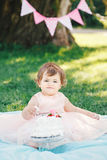 Portrait of cute adorable Caucasian baby girl with dark brown eyes in pink tutu dress celebrating her first birthday. With gourmet cake looking in camera Stock Photography