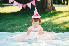 Portrait of cute adorable Caucasian baby girl with dark brown eyes in pink tutu dress celebrating her first birthday. With gourmet cake looking in camera Stock Photos
