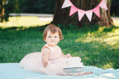 Portrait of cute adorable Caucasian baby girl with dark brown eyes in pink tutu dress celebrating her first birthday. With gourmet cake looking in camera Royalty Free Stock Photography