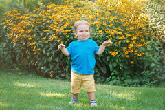 Portrait of cute adorable laughing smiling white Caucasian baby boy child standing among yellow flowers outside Royalty Free Stock Photos