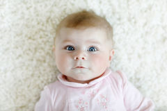 Portrait of cute adorable newborn baby child Stock Photos