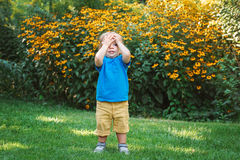 Portrait of cute adorable white Caucasian baby boy child standing among yellow flowers outside in garden park Royalty Free Stock Photos
