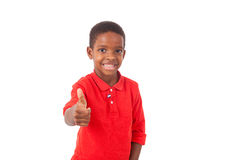 Portrait of a cute african american little boy making thumbs up Stock Image