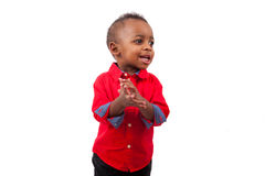 Portrait of a cute african american little boy smiling, isolated Royalty Free Stock Photography