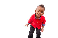 Portrait of a cute african american little boy smiling, isolated Stock Photo
