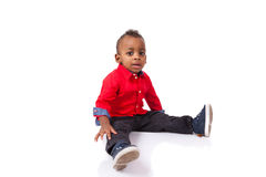 Portrait of a cute african american little boy smiling, isolated royalty free stock images