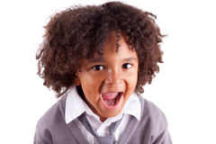 Portrait of a cute african little boy screaming. Isolated on white background Royalty Free Stock Photos