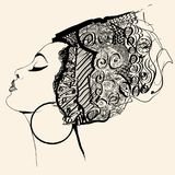 Portrait of cute african woman with hat profile Royalty Free Stock Photos