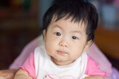 Portrait of a cute Asian child girl and looking aside Royalty Free Stock Photo