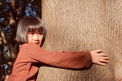 Portrait of a cute asian little girl feel sad while hugging big stock image