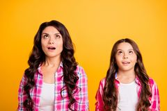 Portrait of cute astonished mature little ladies charming impressed by incredible thing looking up opened mouth dressed royalty free stock images