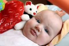 6c13a95dfc9a Close Up Portrait Cute Baby Girl Big Blue Eyes Stock Images ...