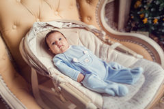 Portrait of a cute baby boy, 3 months old Royalty Free Stock Image
