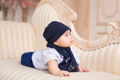 Portrait of a cute baby boy smiling. Adorable four month old child. Royalty Free Stock Images