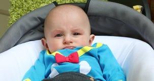 Portrait of a Cute Baby Boy Wearing Funny Costume. Portrait of a Cute Baby Boy Five Month Old Wearing Funny Costume in His Pram. Close Up View - DCi 4K stock video