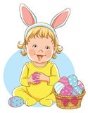 Portrait of a cute baby dressed in Easter bunny ears with a bask. Vector portrait of a cute baby dressed in Easter bunny ears with a basket full of eggs royalty free illustration