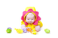 Portrait of a cute baby with Easter eggs Royalty Free Stock Image