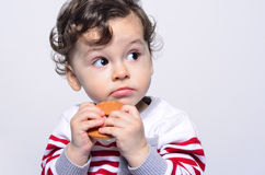 Portrait of a cute baby eating a biscuit looking up curious. Stock Image