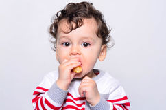 Portrait of a cute baby eating orange. Royalty Free Stock Image