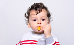 Portrait of a cute baby eating orange. Royalty Free Stock Photo