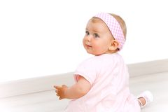 Portrait of cute baby girl with pink head band Stock Photography