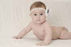 Portrait of cute baby looking at camera Stock Photos