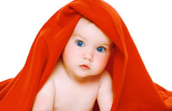 Portrait cute baby with towel on the head Royalty Free Stock Image
