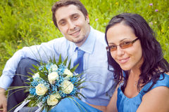 Portrait of cute beautiful couple outdoor Royalty Free Stock Photography